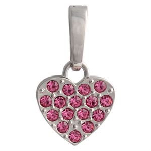 Picture of Pink Crystal Heart Silver Droplet
